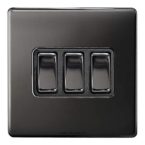 Light Switch 3 Gang 2 Way Polished Black Nickel Wall Switch Screwless Finish N306GME