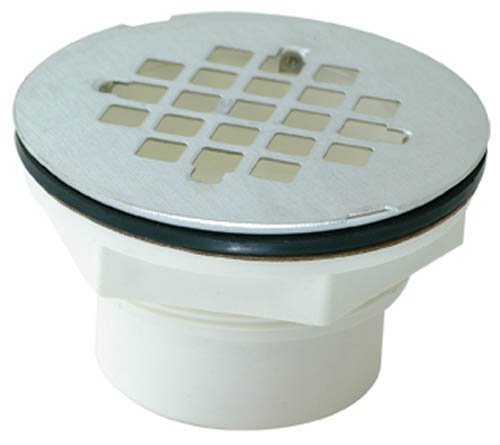 EZ-FLO 15314 Stainless Steel Grid PVC Drop-In Solvent Weld Replacement Shower Drain Strainer/Stopper, White, 2-Inch