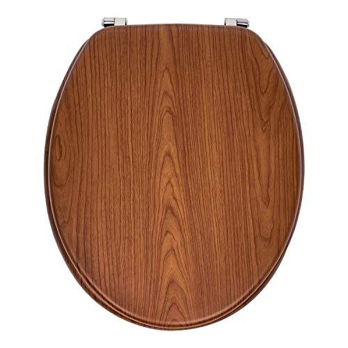 Sedile WC Universale in MDF Legno di Alta Qualità, Tavoletta Copriwater con Cerniere in Acciaio Inox e Tanti Motivi Colorati per il Bagno, Trendy Line (Legno Scuro)