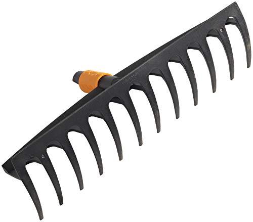 Fiskars Rechen mit 12 Zinken, Werkzeugkopf, Breite: 41 cm, Glasfaserverstärkte Kunststoffzinken, Schwarz/Orange, QuikFit, 1000643