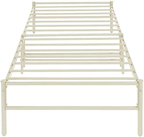 Twin Bed Frame casters Modern Minimalist Style with All-Metal Metal Strip,WhiteB-Single Bed