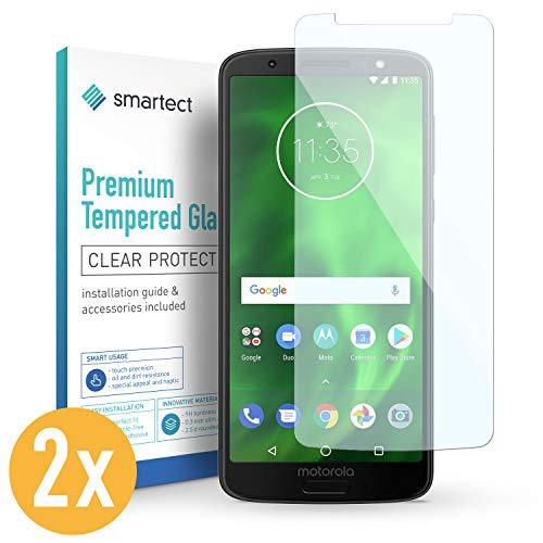 smartect Panzerglas kompatibel mit Motorola Moto G6 Plus [2 Stück] - Bildschirmschutz mit 9H Festigkeit - Blasenfreie Schutzfolie - Anti Fingerprint Panzerglasfolie