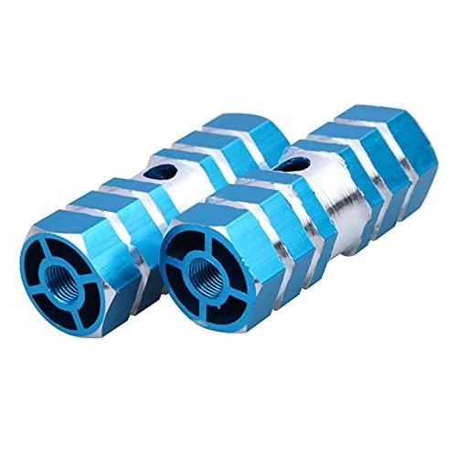 2pc Aluminio Nonslip MTB Bicicleta Pedal Pedal Frente Trasero Eje de pie Pegas de pie Resistencia al Desgaste y Resistencia a la corrosión Multicolor Opcional (Color : Blue)