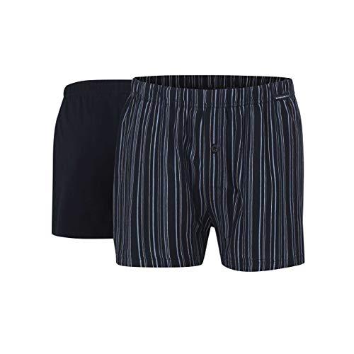 Götzburg Herren Boxershort, Unterhose, Shorts - Unterwäsche - Baumwolle, Single Jersey, Navy, gestreift mit Eingriff, 2er Pack 9