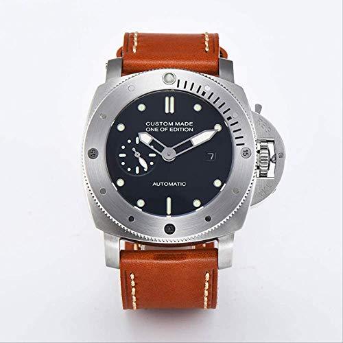 KLMWDSB 47mm Automatische Beweging Roestvrij Staal Gepolijst Heren Horloge Lederen Band
