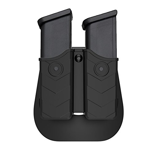 Universal Double Magazine Holder, Double Magazine Holster Fits 9mm/.40 Dual Stack Mags, Belt Carry OWB Paddle Mag Pouch for Glock/S&W/Sig Sauer/H&K/Ruger/CZ/Taurus/Beretta/Browning/Colt/Walther
