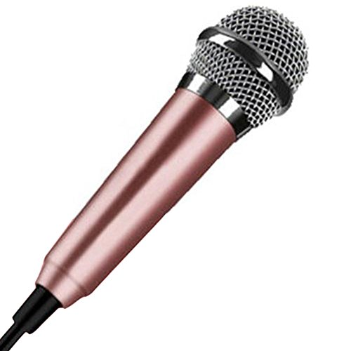 Mini 3,5 mm Kondensator-Mikrofon für Handy, Computer, Karaoke, Handheld, Kleiner Recorder für Handy mit Kabel, Karaoke, gold