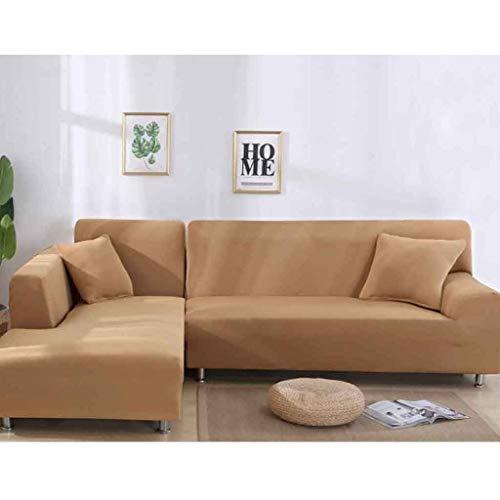 NO BRAND Funda de Sofa Elástica Chaise Longue Brazo Largo Derecho Funda Cubre Sofá Modelo Acolchado Diseñada de Forma L (Color : Camel Color, Size : 2 Seat(145-185CM))