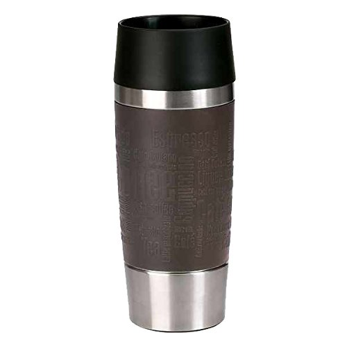 Emsa 515683 Travel Mug, thermobeker, mobiele koffiebeker, 360 ml, ijskoffie, isoleerbeker, ijsthee, Quick Press-sluiting, chocolade