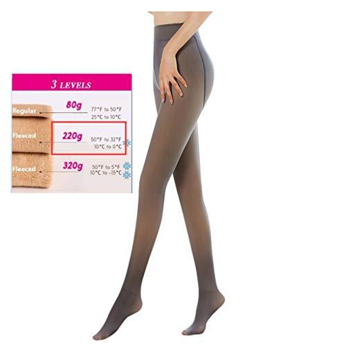 CICIYONER Damen Strumpfhosen Plüschstrümpfe Perfekt Beine abnehmen Gefälschte durchscheinend Warm Fleece Pantyhose -wärmende Thermostrumpfhose für Damen (Taille: 60-90cm, Schwarz/230g)