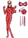 Beunique Bandoulière Réglable Fille Costume Elastique Miraculous Ladybug Masque Sac Zip Marinette Coccinelle Cosplay Cadeau d'anniversaire Noël Carnaval Halloween Déguisement