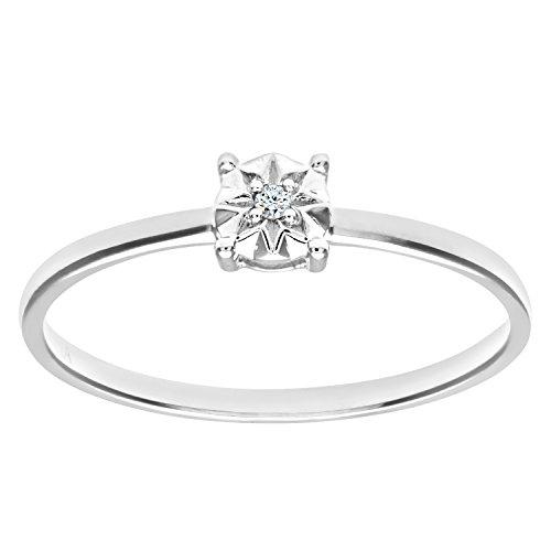 Naava Anillo de Mujer con Oro blanco de 9 quilates (375) con Diamante Brillante - Tamaño 11