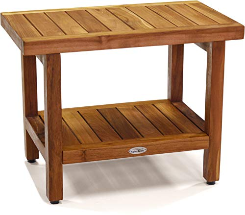 AquaTeak The Original 24' Spa Teak Shower Bench with Shelf