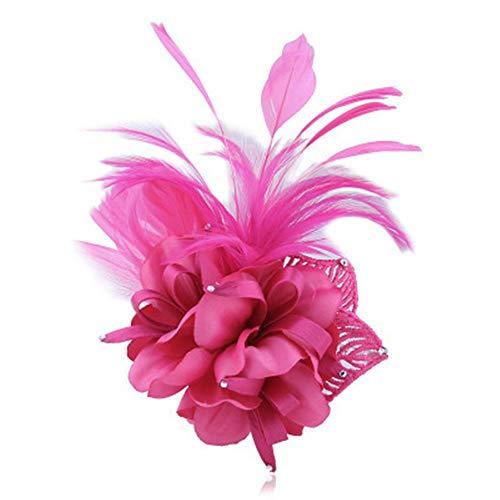 Zhanghanzong-apparel Cintas para el Pelo Broche de Plumas de Boda Hecho a Mano de Tela Flor Grande Broche Flor Doble propósito para Mujeres (Color : Rose Red, Size : Free Size)