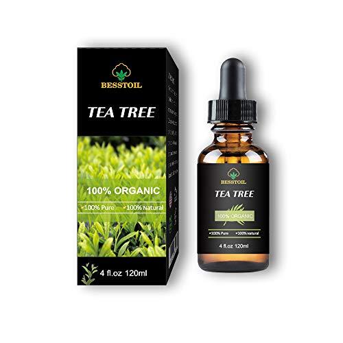 Aceite esencial de árbol de té 100% orgánico puro y sin diluir, uñas faciales, cabello y difusor, tratamiento para el acné (120ml)