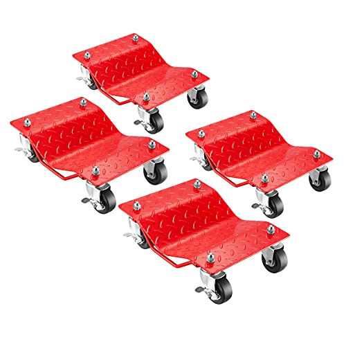 Pentagon Tools Car Jack Tire Skates – 4-Piece Solid Steel Car Dolly Set for Moving Cars, Trucks, Boats, Trailers, and Motorcycles (Red)