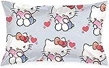 Hello Kitty es tímido y lindo, fundas de almohada cuadradas de felpa de impresión decorativa suave para sala de estar, sofá, cojín de 50,8 x 70,8 cm