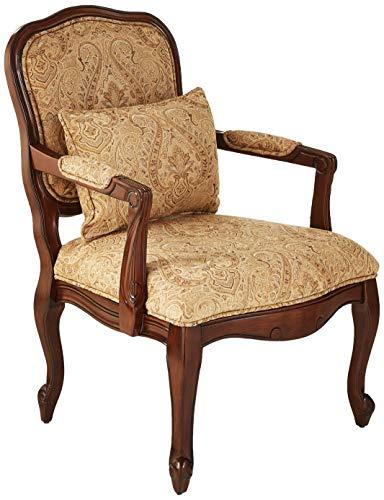 William's Home Furnishing Waterville Arm Chair, Beige/Dark Cherry