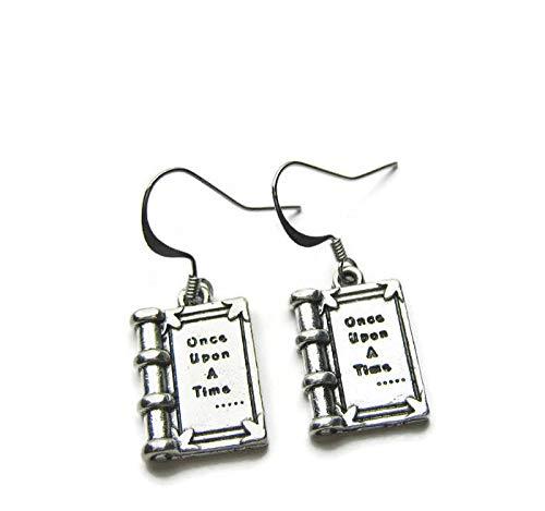 Orecchini in argento a forma di libro di cavaliere, con scritta'Once Upon A Time', per amanti dei libri, con sacchetto regalo