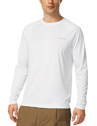 BALEAF Men's Long Sleeve Shirts Dri Fit Lightweight UPF 50+ Sun Protection SPF T-Shirts Fishing Hiking Running Cycling White Size L