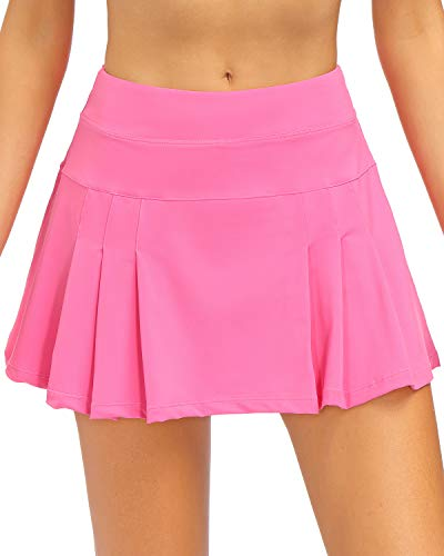 STYLEZONE Women's Active Athletic Sports Skort Skirts for Running Tennis Golf Workout Skirt with Pockets Pink M
