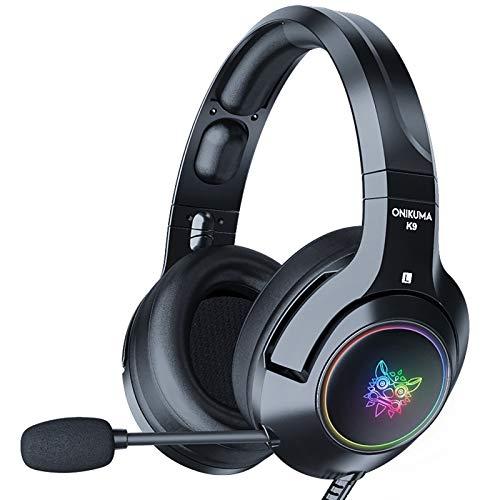 Fone de ouvido estéreo para jogos K9 para PS4 PC Xbox One PS5 Switch Controller, com som surround RGB Light Noise Reduction Microphone Headset (USB + Versão Demon Preto 3,5 mm)