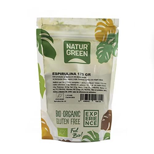 NaturGreen Espirulina En Polvo, Alga Espirulina, Ecológico, Ideal Para Bebidas, Batidos Y Recetas, 70% Proteína Vegetal, color Único, Estándar, 175 g