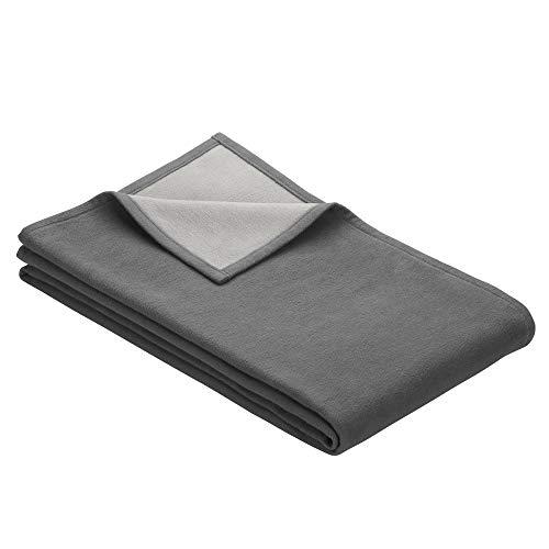 Ibena Stockholm Baumwolldecke 140x200 cm – Kuscheldecke grau hellgrau, 100% Reine Baumwolle, hochwertige Qualität Made in Germany
