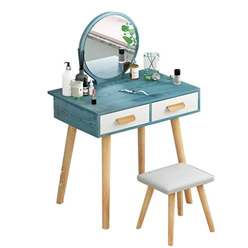 New Mesurn Combined Dresser Set with Square Wooden Stool with High-Elastic Sponge, Round Mirror, Dra...