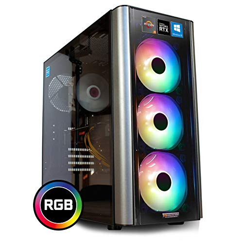 dcl24.de [12113] Gaming PC RGB Level 20 AMD Ryzen 7 3800X 8x3.9 GHz - X470, 500GB M.2 SSD & 2TB HDD, 32GB DDR4, RTX2060 Super 8GB, WLAN, Windows 10 Pro Spiele Computer Rechner