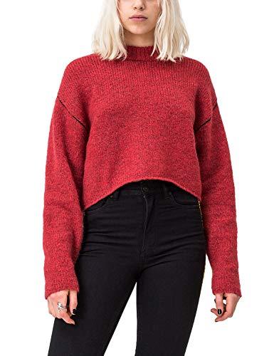 Cheap Monday User Knit Maglione, Rosso (Rosso Brillante Melange Brillante Rosso Melange), M Donna
