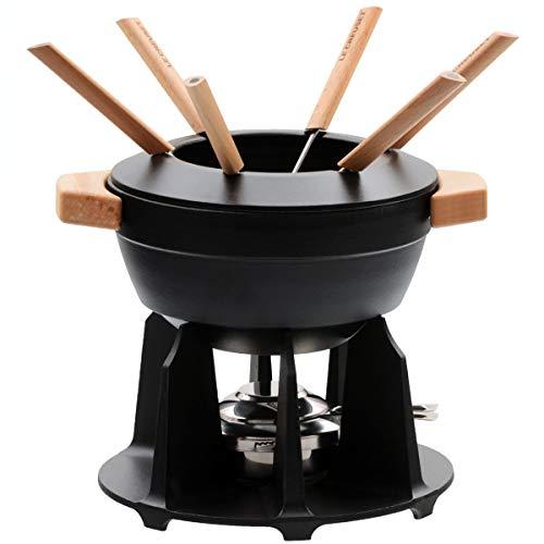 Le Creuset Set de fondue de hierro fundido, Con 2 asas de madera, tapa antisalpicaduras, quemador y 6 tenedores para fondue, Volumen 2.3 L, Negro mate