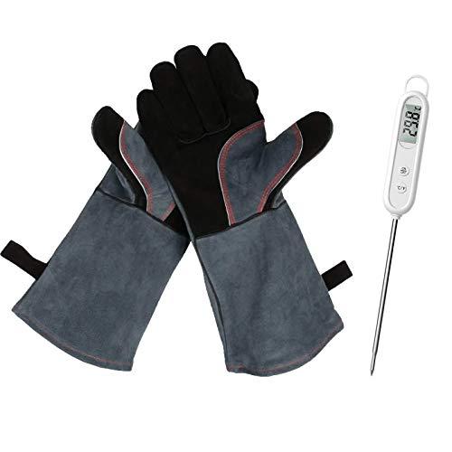 Grillhandschuhe,Ofenhandschuh Grillhandschuh 1 Paar Leder Grill Handschuhe 41x15X1.5cm Wildleder hitzebeständig, schwer entflammbar, Schweißhandschuhe, Kamin-Handschuhe(Rindsleder, Schwarz)