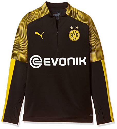 PUMA Kinder BVB 1/4 Zip Training Top Jr with Evonik Logo Pullover, Black/Cyber Yellow, 164