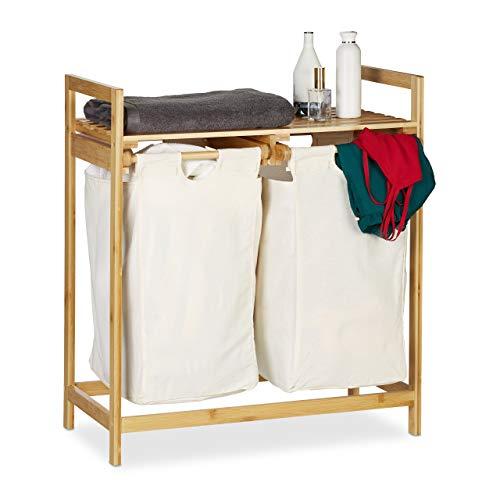 Relaxdays Wasmand bamboe, wassorteerder met legplank, 2 vakken, uittrekbaar, draagbaar wasrek, 60 liter, natuur, 1 stuk