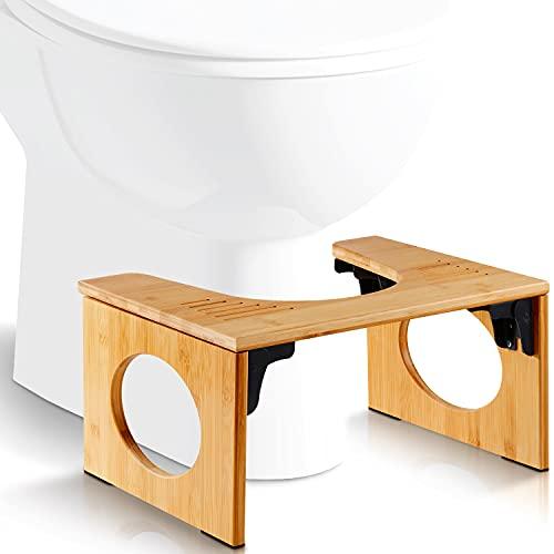 Fällbar toalettpall i bambu – Fysiologiskt fotstöd i trä– Hopfällbart fotstöd för toalett - Anti förstoppning, rekommenderas av läkare
