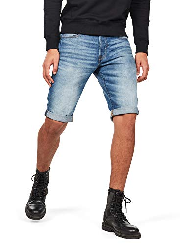 G-STAR RAW Herren 3301 Shorts, Blau (Medium Aged 8973-071), W34