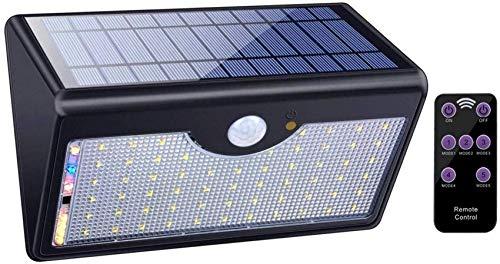 60LED Solarlicht mit Bewegungssensor Solarenergie-Flutlicht im Freien mit 5 intelligenten Modi wasserdichte drahtlose Fernbedienung Solarwandleuchte für den Garten