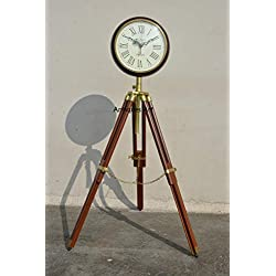 Wooden Wall Clock with Tripod Stand - Home Decor Vintage Reproduction Grandfather Style Standing Floor Clock for Living Room Home Office School