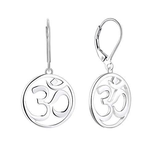 JO WISDOM Women Earrings,925 Sterling Silver Indian Yoga Aum Om Ohm Leverback Dangle & Drop Earrings with White Gold Plated