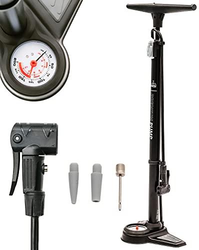 DANSI Standluftpumpe mit Druckablassventil und Adaptern I Praktische Fahrrad-Luftpumpe passend für alle Ventile SV AV DV I Reifen-Pumpe mit großem Manometer I bike tire pump black I air pump for car