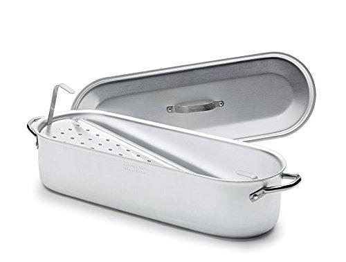 Pescera in alluminio con griglia, coperchio e maniglie in acciaio Inox, diametro 80x24 cm
