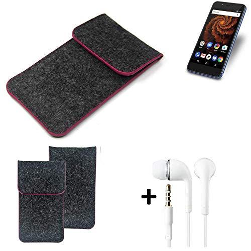 K-S-Trade® Filz Schutz Hülle Für Allview X4 Soul Mini S Schutzhülle Filztasche Pouch Tasche Handyhülle Filzhülle Dunkelgrau Rosa Rand + Kopfhörer