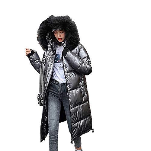 Chaquetas Casuales Gruesas de Gran tamaño extragrandes para Mujer x-Long con charretera Chaquetas de Invierno para Mujer con Capucha sólida piumi Donna