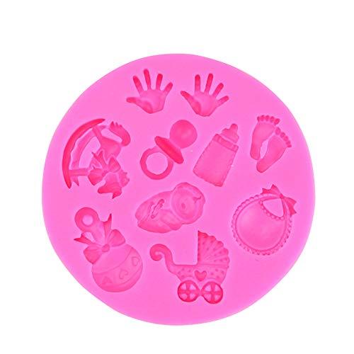 Hilai Baby Shower Party Kinderwagen Hand Flasche Trojan Silikonform Seife, Schokolade Fondant-Kuchendekoration Backen Küchenwerkzeug (Ramdon Color)