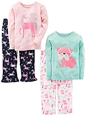 Simple Joys by Carter's Girls' Little Kid 4-Piece Pajama Set (Cotton Top & Fleece Bottom), Puppy/Unicorn, 7