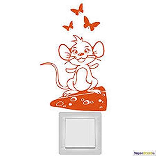 SUPERSTICKI Muurtattoo stopcontact lichtschakelaar grappige muis op kaas decoratie hobby decoratie Home knutselen van high-performance folie sticker autosticker tuningsticker high-performance folie