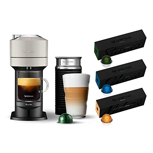 Nespresso Vertuo Next Coffee and Espresso Machine with Aeroccino NEW by Breville, Light Grey and Espresso Maker + Nespresso Capsules VertuoLine, Medium and Dark Roast Coffee, 30 Count Coffee Pods