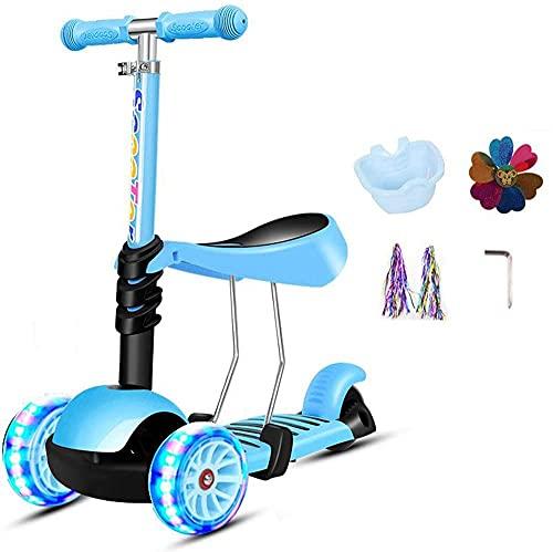 RSTJ. Scooter per Bambini per Seduta Pieghevole, Altezza Regolabile con Ponte Extra Largo, GUIDATO Accendere PU. Lampeggiante (Color : Blue)