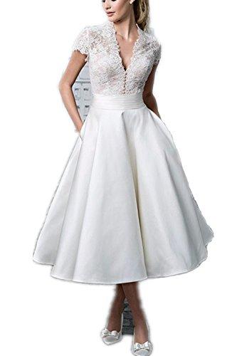 YASIOU Elegant Damen A Linie Kurz Spitze Weiß Vintage Knielang Hochzeitskleid